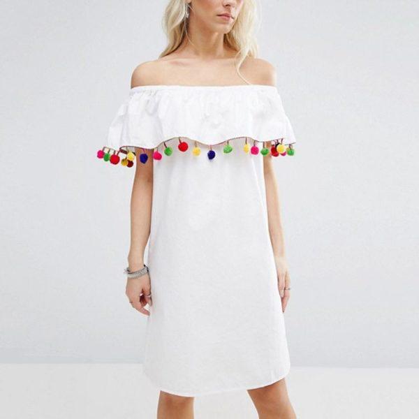Bardot white pom pom tasseled dress
