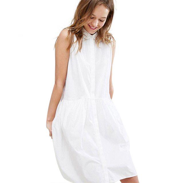 Sleeveless white shirt dress