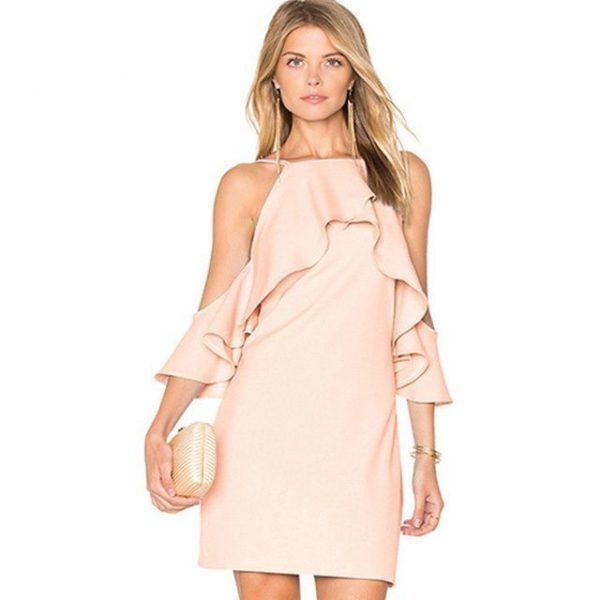 Sweet plummet light pink sleeved dress
