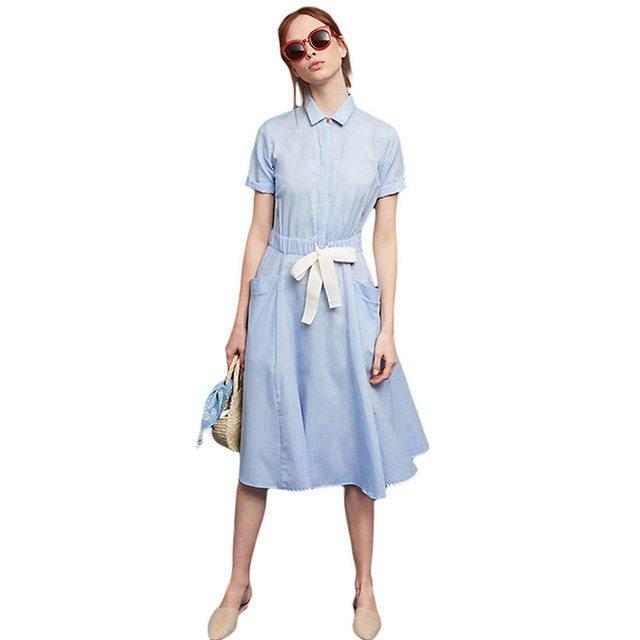 Soft blue tie waist dress