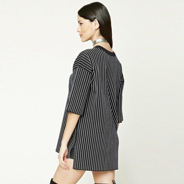 Plush pin striped top