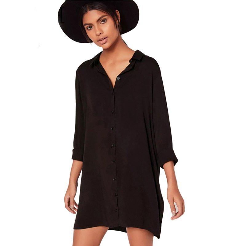 Elegant black shirt dress