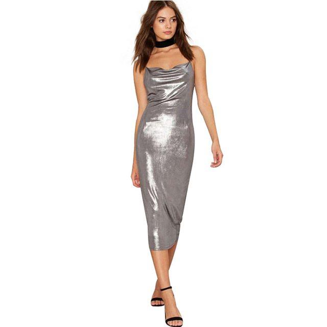 Bold shimmering silver dress