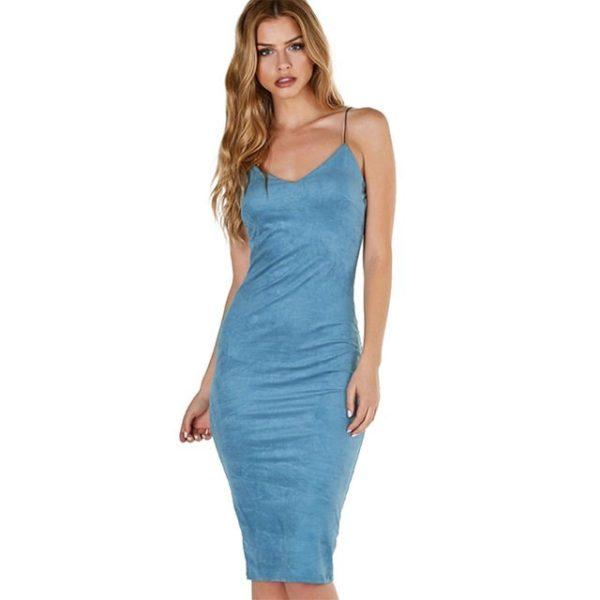 Charming blue spaghetti strapped dress