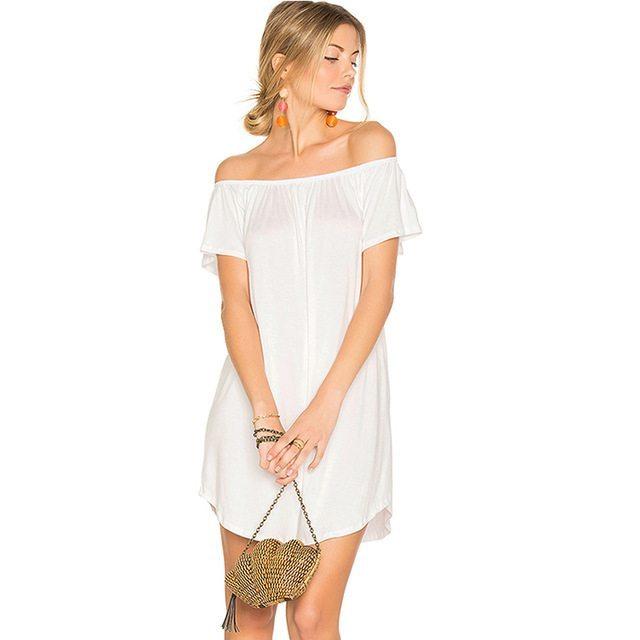 Sassy white bardot dress