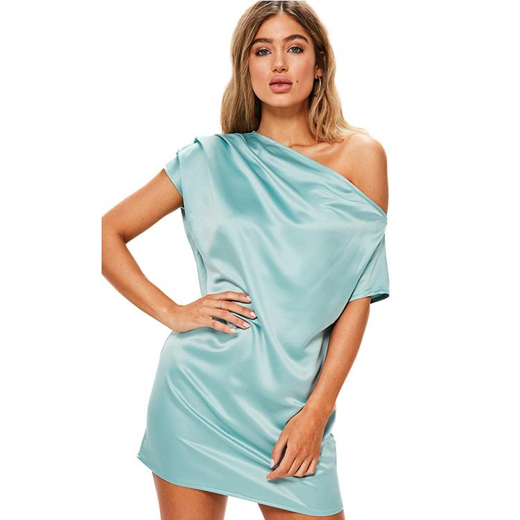 Turqouise soft one shouldered shimmer dress