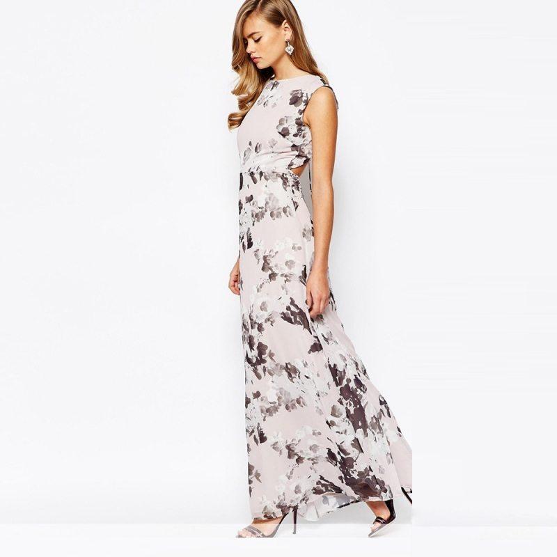 Elegant patterned floral maxi dress