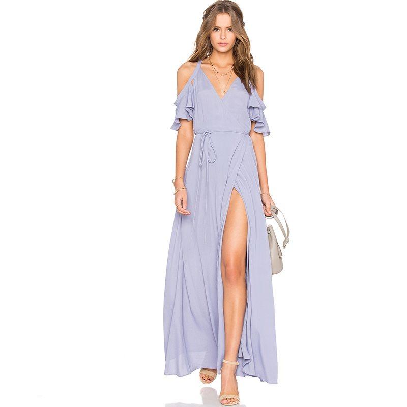 Beautiful front split powder blue maxi dress