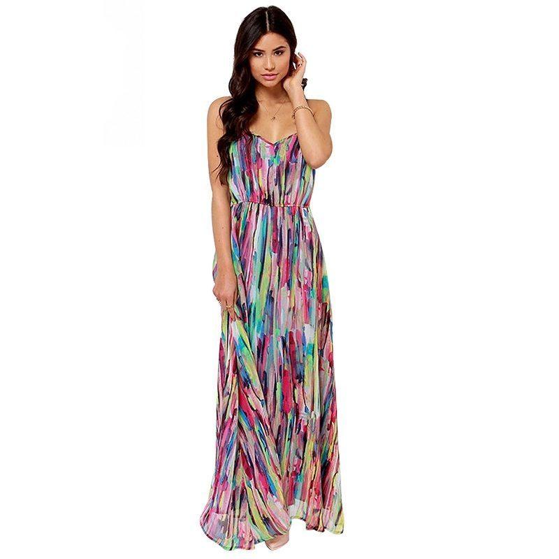 Patterned spaghetti strapped maxi dress