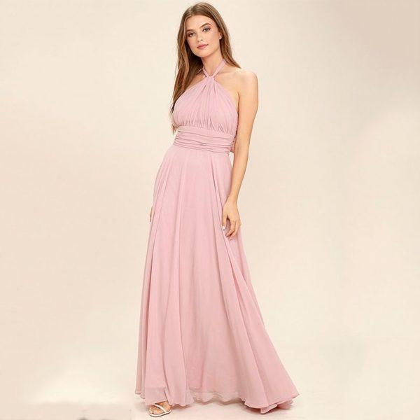 Pink elegant halterneck evening dress