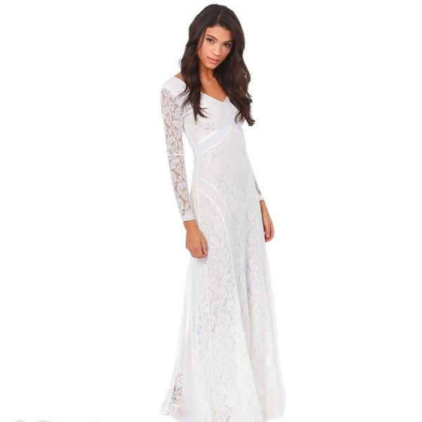 Laced white evening dress