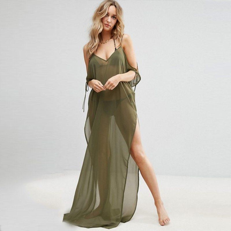 Graceful khaki maxi dress