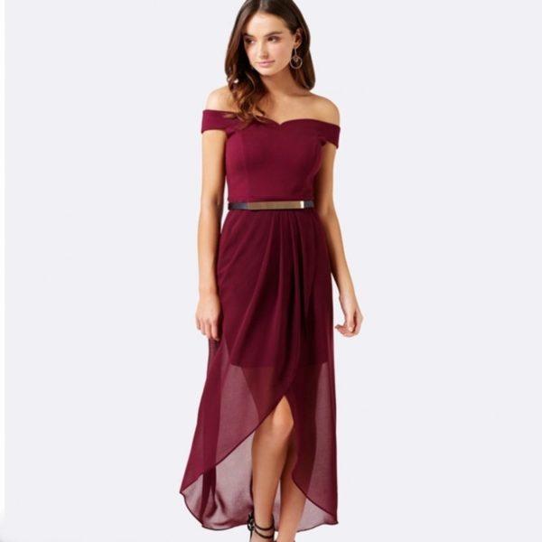Burgundy bardot evening dress
