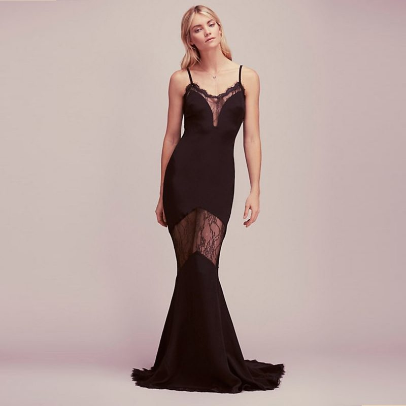 Sexy lace detailed evening dress