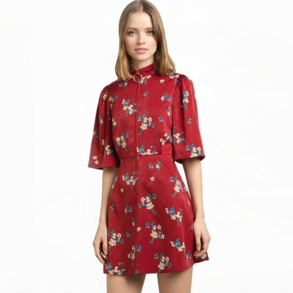 Red floral office dress
