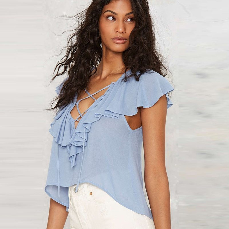 Frilly blue blouse