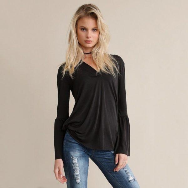 Black flared sleeved blouse