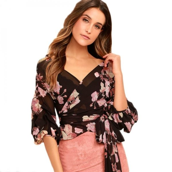 Lush floral cropped blouse
