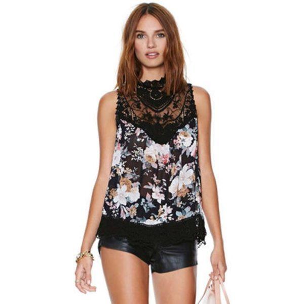 Mesh floral blouse
