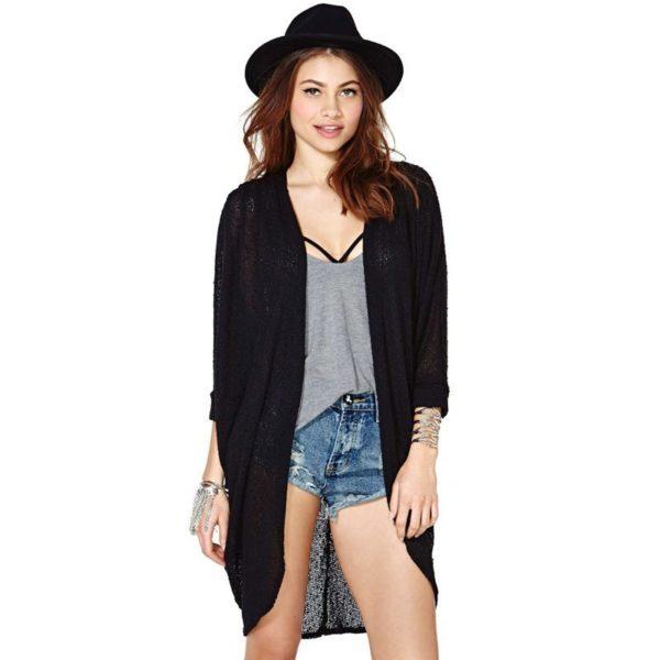 Light side slit black cardigan