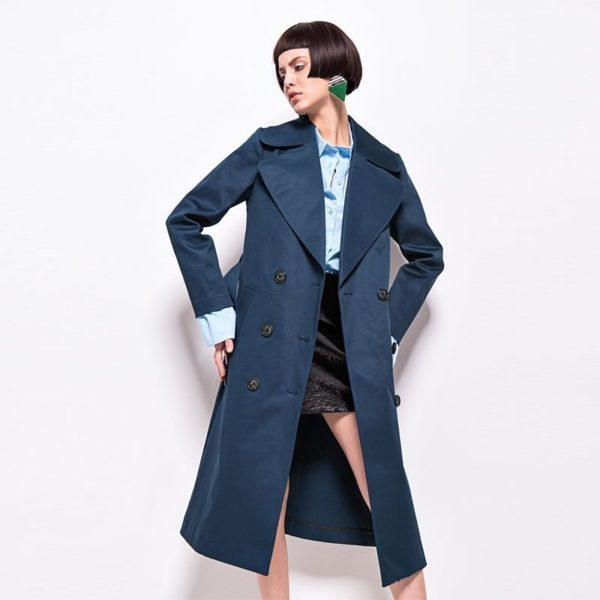 Sultry teal double breasted coat