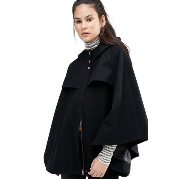 Stunning black cape coat