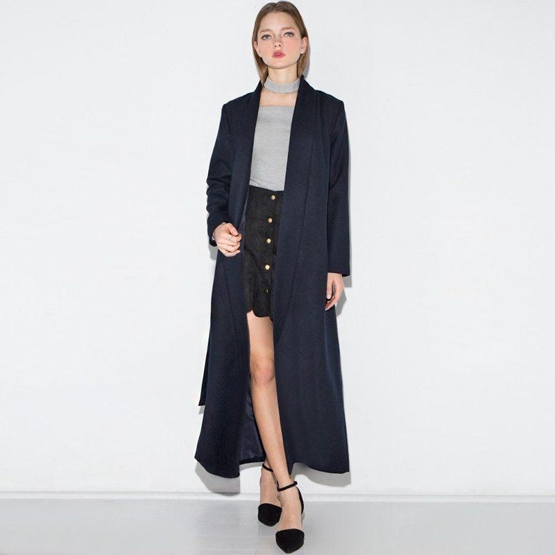 Belted black princess coat
