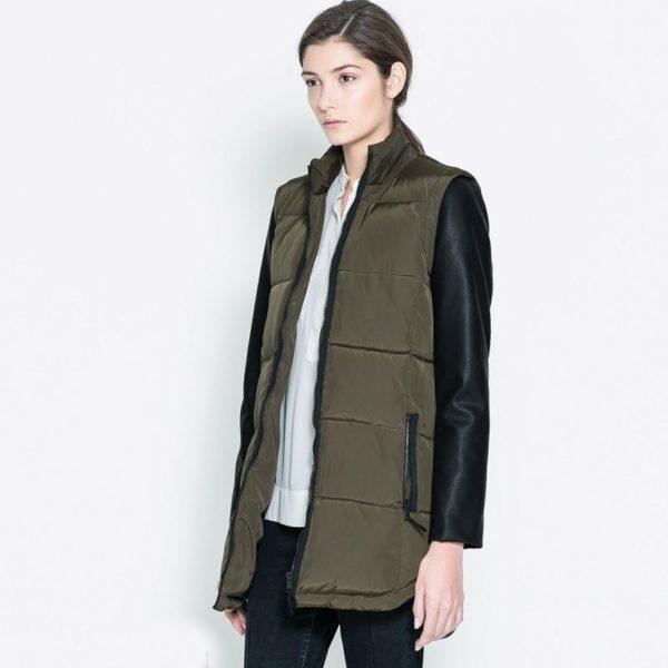 Khaki leather sleeved coat
