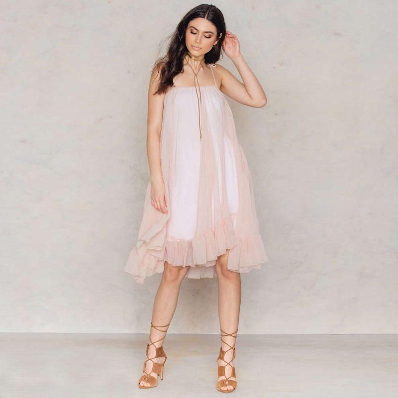 Floating pale pink dress