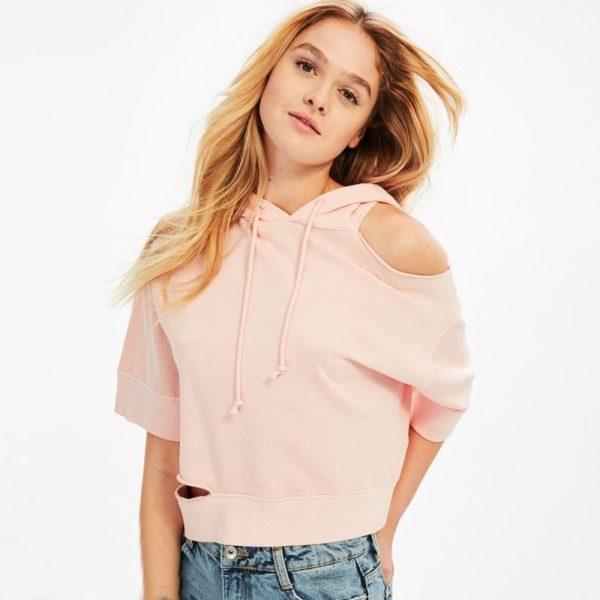 Cute pink cold shouldered cropped hoodie