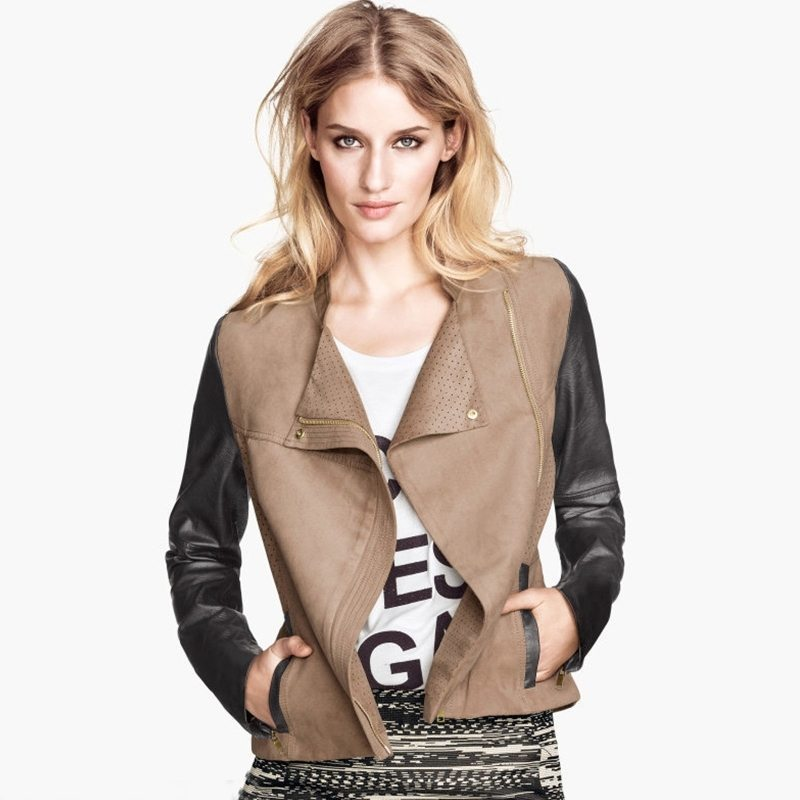 Two coloured leather drape chest jacket