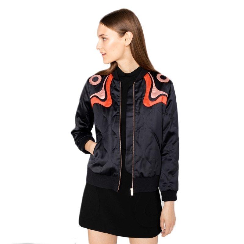 Patterned shoulder bomber jacket