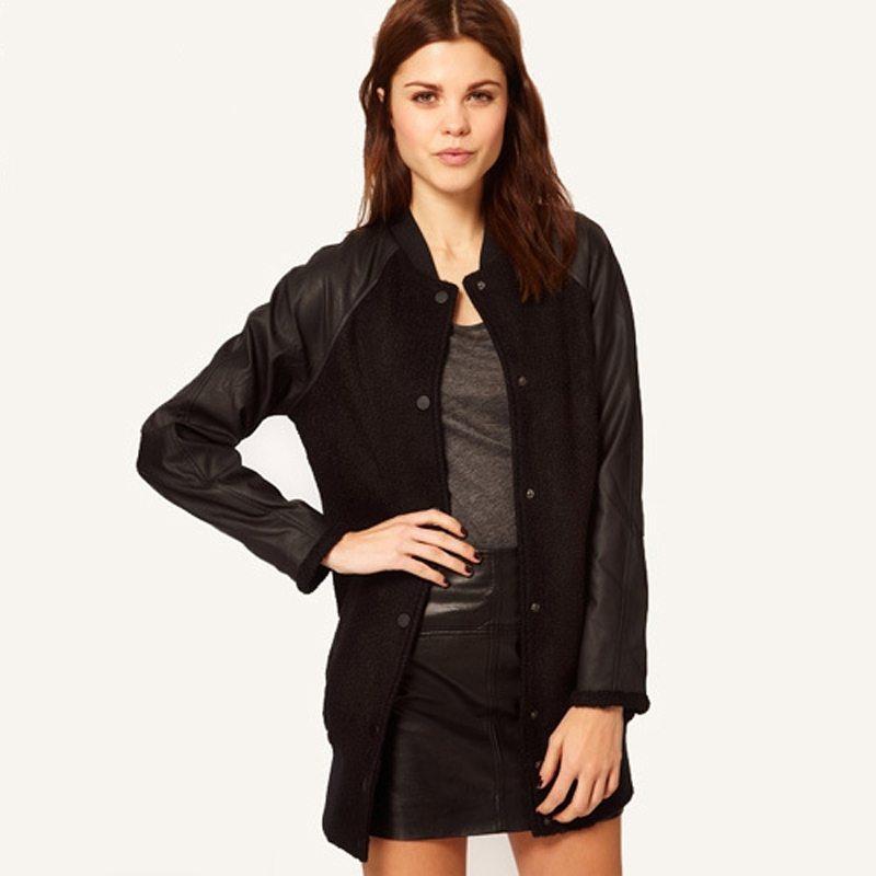 Leather sleeved black baseball jacket