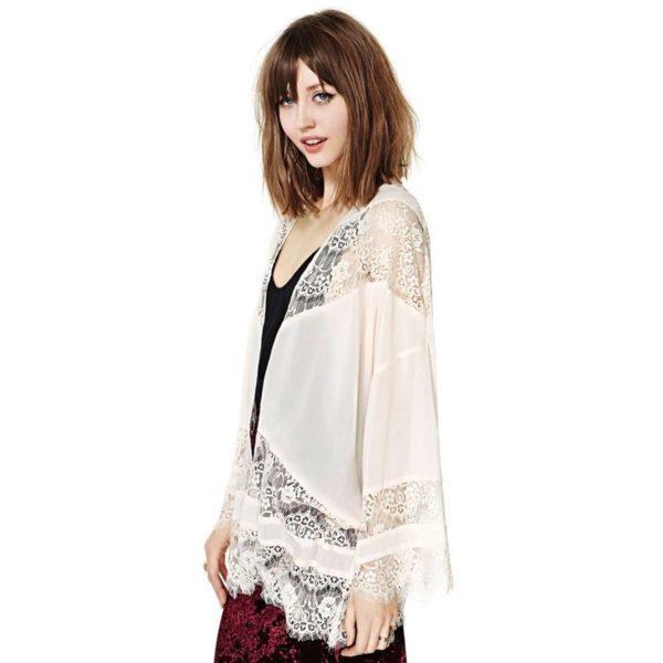 Light laced white kimono