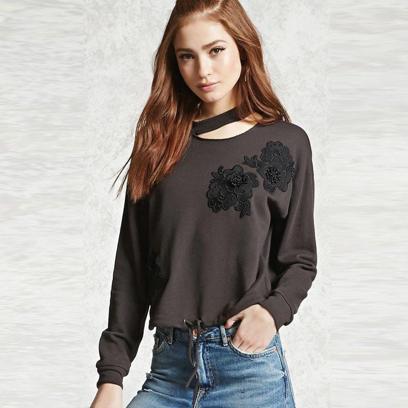 Dark grey choker floral sweater