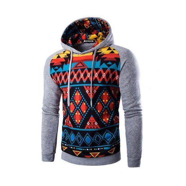 Urban patterned drawstring hoodie
