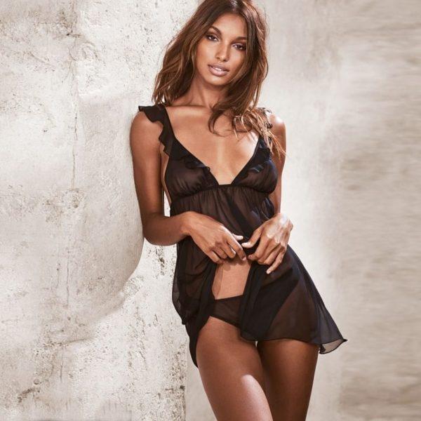 Sexy black transparent body language negligee