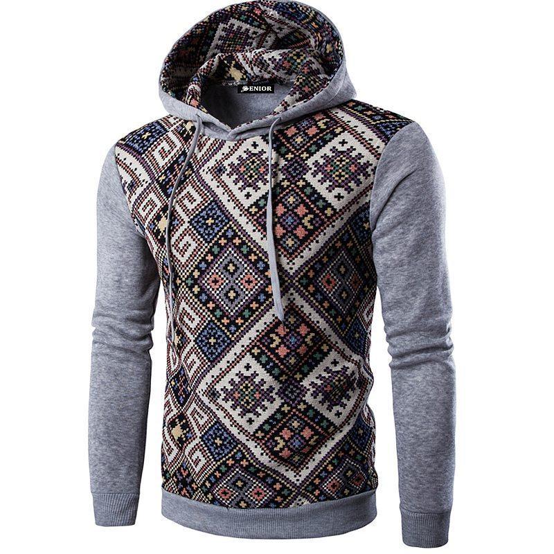 Bold patterned drawstring hoodie