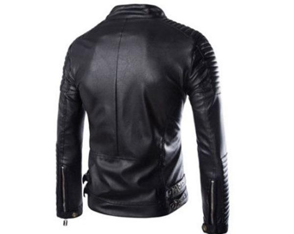 Leather zipped pocket jacket