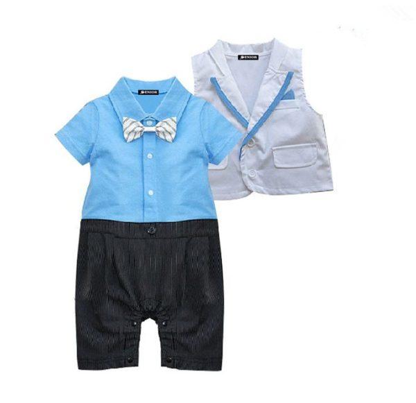 Bright blue shirt bow tie & trouser romper suit