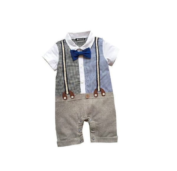 Two patterned shirt bow tie & trouser with braces romper suit