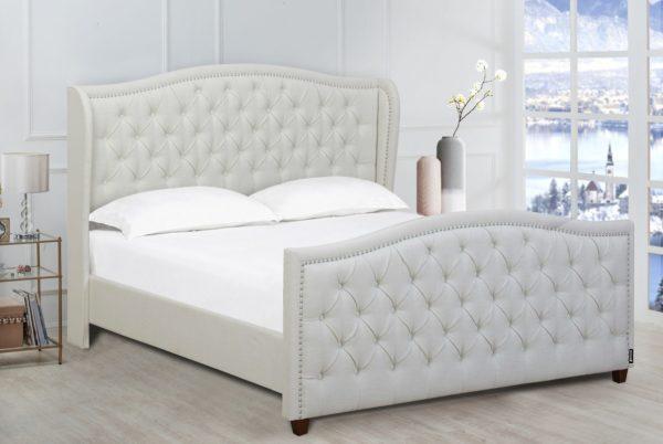 Comfy light grey padded bed frame