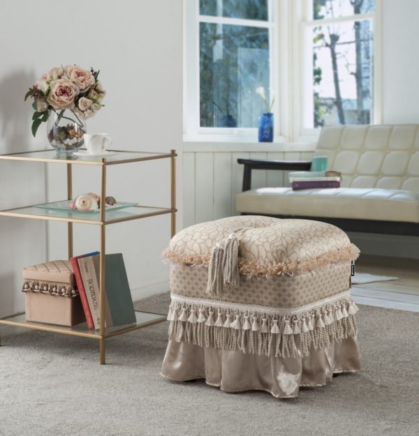 Patterned studded foot stool