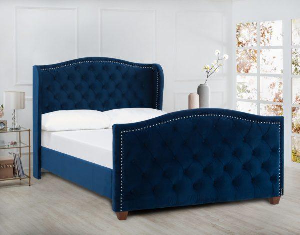 Royal deep blue padded bed frame