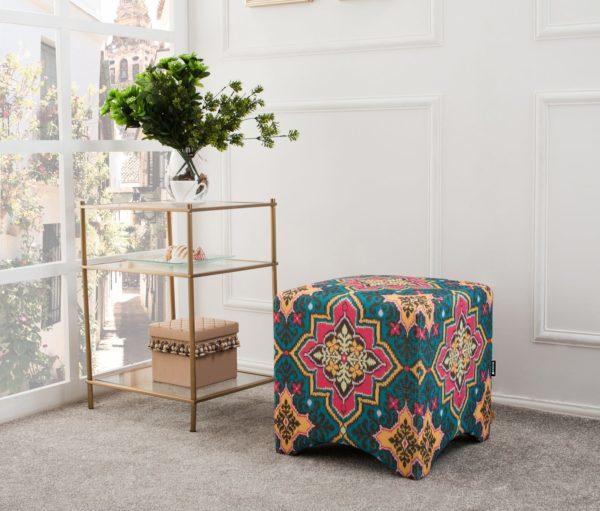 Rustic aztec patterned foot stool
