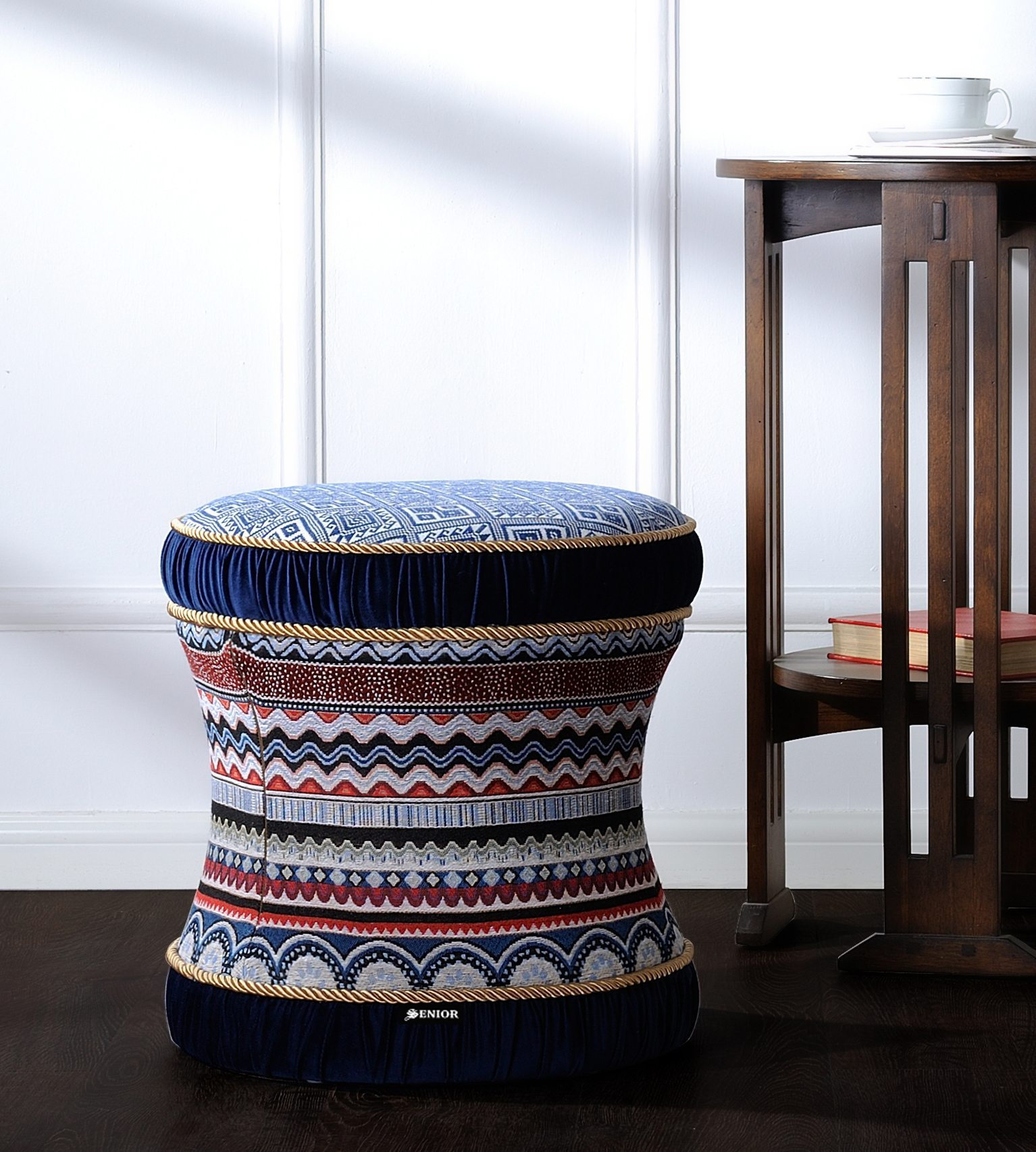 Aztec patterned foot stool
