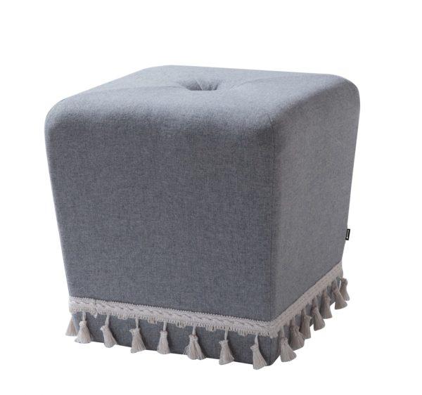 Classic grey tasseled foot stool