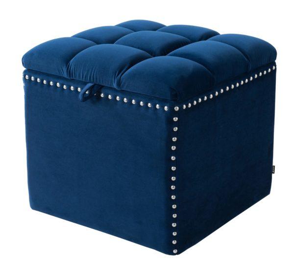 Studded dark blue storage foot stool