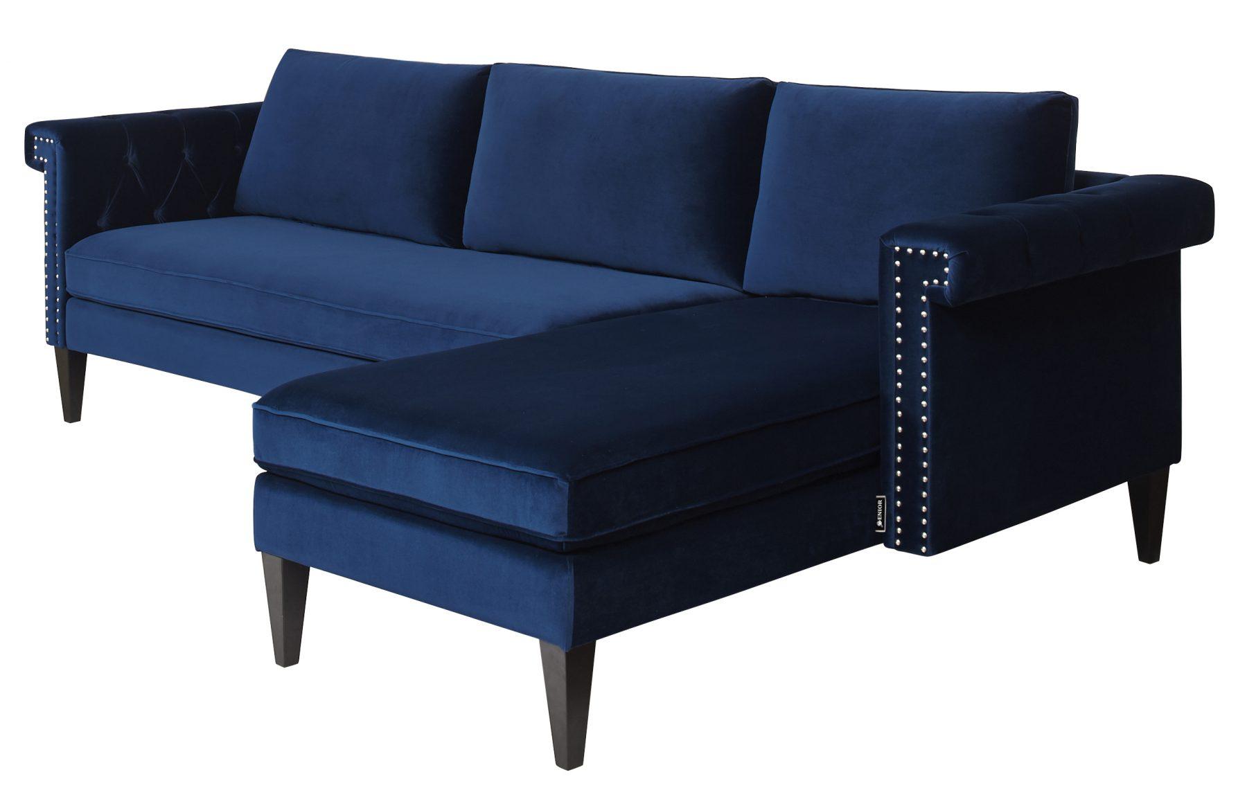 Retro blue right corner sofa