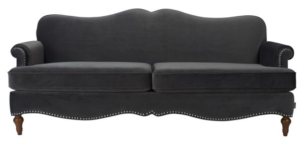 Black studded sumptuous 2 seater sofa